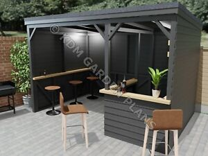 Woodwork Plans for Home Bar Shelter 2.4mx3.6m Pub (Plans Only No Materials)
