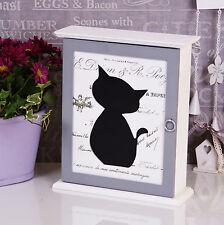 Shabby Chic White Wooden KEY Box Holder Cupboard Wall Rustic Black Cat Xmas  #69
