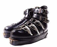 Mid Century Mod Era Nordica Ski Black Leather Metal Clamps Boots vtg C 1950s-60s