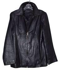 Jacqueline Ferrar Black Leather Womens Fitted Zipper Jacket Size Small