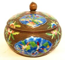 CHINESE ANTIQUE ENAMELED BOX with COVER *BLUE & GREEN PANELS* c.1900