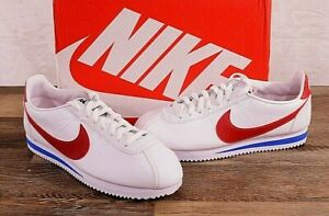 Woman's Nike Classic Size 7 MED White Red Cortez Leather Causal Running Shoes