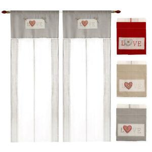 Curtains Window Port Internal Pair 2pz More Measures Fabric Linen Heart 3D Stud