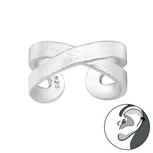 Solid 925 Sterling Silver Ear Cuff Crossed Design Textured Silver New + Gift Bag