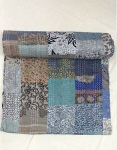Indian Grey Silk Patola Kantha Quilt Handmade Sari Coverlet Hippie Patch Gudari