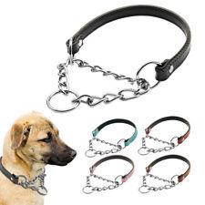 Black Dog Choke Collar Half Chain & PU Leather Polish for Medium Large Dogs