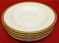 TV TRESSEMANES & VOGT LIMOGES Gold Encrusted Rimmed Soup Bowls - Set of 6 - MINT