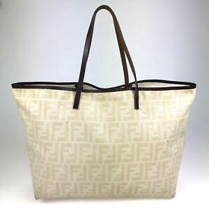 100% Authentic FENDI Nylon Zucca White Handbag [Used] {09-0315}