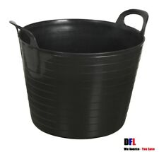 10 x BLACK 42L 42 Litre Large Flexi Tub Garden Flexible Storage Builders Bucket