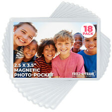 "Freez A Frame Clear Magnetic Photo Frame Pockets for 2.5"" x 3.5"" Photos 18 Pack"