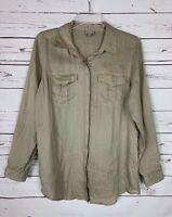 J.Jill Women's S Small Beige Tan Button Long Sleeve Cute Spring Top Shirt Blouse