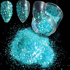 Nail Glitters Powder Nails Tips Clear Lake Blue Powder Mixed Size Sequins N293