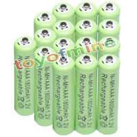 16x AAA 1800mAh 1.2V Ni-MH 3A Green Color Rechargeable Battery Cell