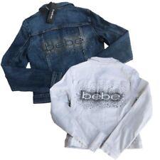 NWT Bebe White Logo Denim Jean Jacket Rhinestone Studded Silver $154