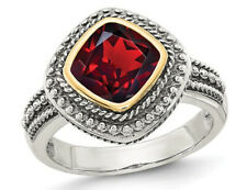 Garnet Ring (8mm) Sterling Silver with 14K Gold Accents