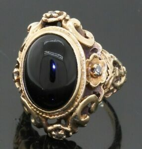 Antique 14K gold .12CT diamond/13.4 X 9.5mm cabochon onyx cocktail ring size 4.5