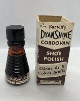 Barton's DyanShine Cordovan Brown Shoe Polish Glass Bottle And Advertising