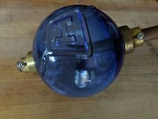 Fenton Cobalt Blue Glass Lightning Rod Ball Globe with brass end cap COLLECTABLE