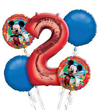 Mickey Mouse 2nd Birthday  Balloon Bouquet - 5 Foil Helium Balloons Party