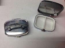 Citroen XM ref50 pewter effect car emblem on silver metal pill box