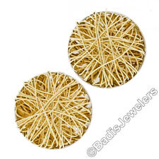 New Solid 14K Yellow Gold Large Round Tangled Wire Button Omega Back Earrings