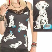 CUTE BLACK WITH DALMATIONS  PRINT DOG vest top size 6-18 Alternative Gothic