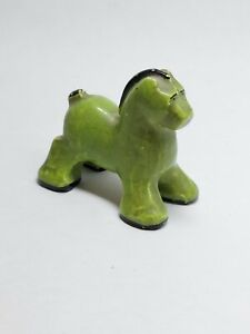 Vintage Miniature MCM Deco California Green Cubist Style Pottery Horse
