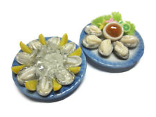 2 Set Fresh Oysters Seafood Dollhouse Miniatures Dinner Food Supply Deco