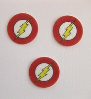 12 PRE CUT EDIBLE RICE WAFER PAPER CARD THE FLASH SUPERHERO CAKE PARTY TOPPERS