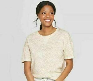 Women's Animal Print Fleece Short Sleeve Lounge Sweatshirt Stars Above Large