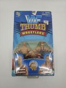 Vintage 1997 WWF Steve Austin VS Owen Hart Thumb Wrestlers Jakks Pacific NEW MOC
