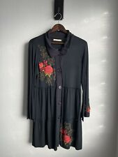 Caite X Athleta Dress Sz Small Black Floral Embroidered V-Neck Button Down