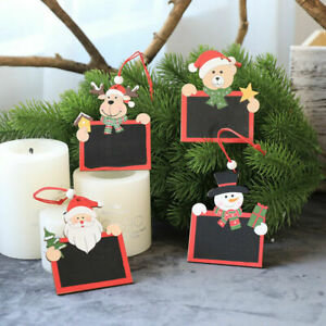 8 Pcs Christmas Natural Wooden DIY Mini Blackboard Seasonal Decorations Orname