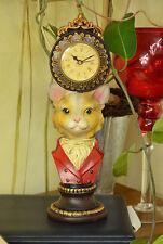 Orologio Statua Testa Di Gatto Resina Ceramica Decor Vintage Animale Regalo