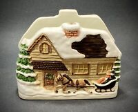 Otagiri Christmas Cottage Cabin Napkin Holder Collectible Holiday Fitz&Floyd