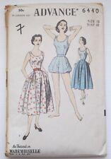 Vintage 1940s Advance 6440 Sewing Pattern Playsuit Swimsuit Romper Skirt B31 U/C
