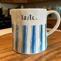 Rae Dunn Coffee Mug Taste Blue Stripes Artisan Collection by Magenta 16 oz