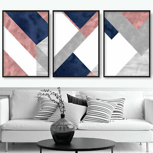 SET of 3 ABSTRACT Navy Blush Pink Grey Textured pattern Wall Art Prints ONLY