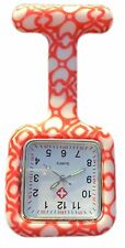Nurses Fashion Coloured Patterned Silicon Rubber Fob Watches SQUARE Orange Heart