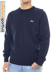 MAGLIONE LACOSTE NECK SWEATER COTONE 100% CLASSIC FIT- AH1985-00-166 col.blu
