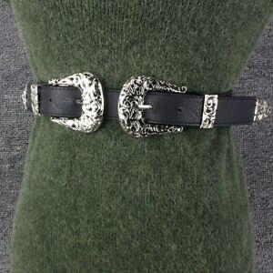 Women Faux Leather Waist Belt Gold Silver Retro Double Pin Buckle Waistband