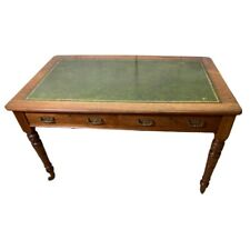 Vintage Green Leather Top Writing Table Desk
