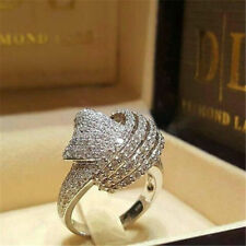 Women 925 Silver White Topaz Jewelry Engagement Wedding Chic Ring Gift Size 6-10