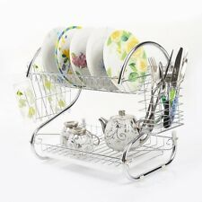 Kitchen Dish Cup Drying Rack Drainer Dryer Tray Cultery Holder Organizer 2 Tiers