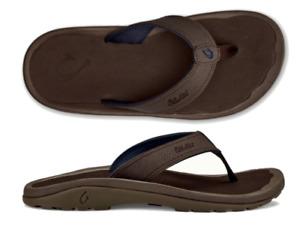 Olukai Ohana Dark Wood/Dark Wood Comfort Flip Flop Men's US sizes 7-18 NIB!!!