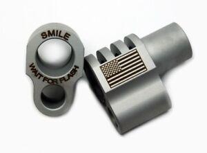 1911 Full-Size Smile Wait for Flash/Flag Engraved Compensator 45acp SS SATIN