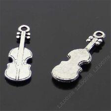 20x Retro Tibetan Silver Violin Pendant Charms Beads Accessories Wholesale B431P
