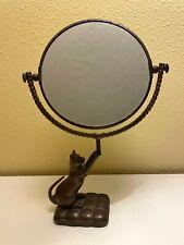 """Cat Mirror, Decorative Brass, Round Swivel, Spi San Pacific Int'l, 14"""" tall"""