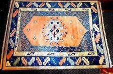 Vintage Turkish Oriental Rug (75 x 66 inches) PEACH and BLUE or 5'5 x 6'3 vgc