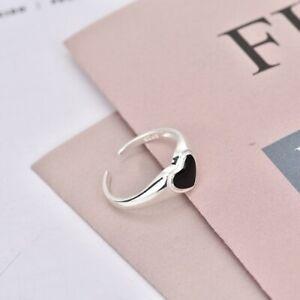 925 SILVER PLATED ADJUSTABLE FINGER  RING FOR WOMEN  BLACK HEART